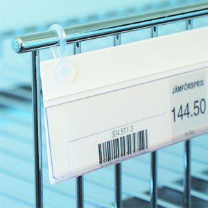 Etikettlist med clips for trådhylle 26*105mm, 100 pk
