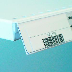 Etikettlist med lim bunnhylle FRONT 45° 39*60mm, 50 pk